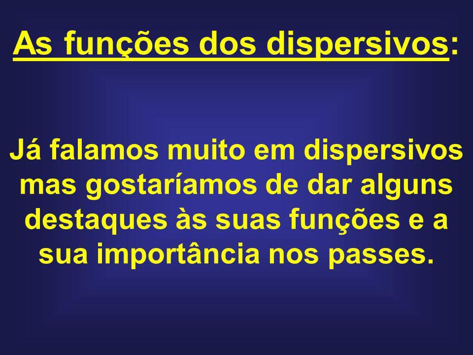 As funções dos dispersivos: Já falamos muito em dispersivos mas gostaríamos de dar alguns destaques às suas funções e a sua importância nos passes.