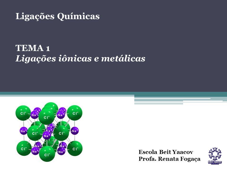Escola Beit Yaacov Profa. Renata Fogaça Ligações Químicas TEMA 1 Ligações iônicas e metálicas
