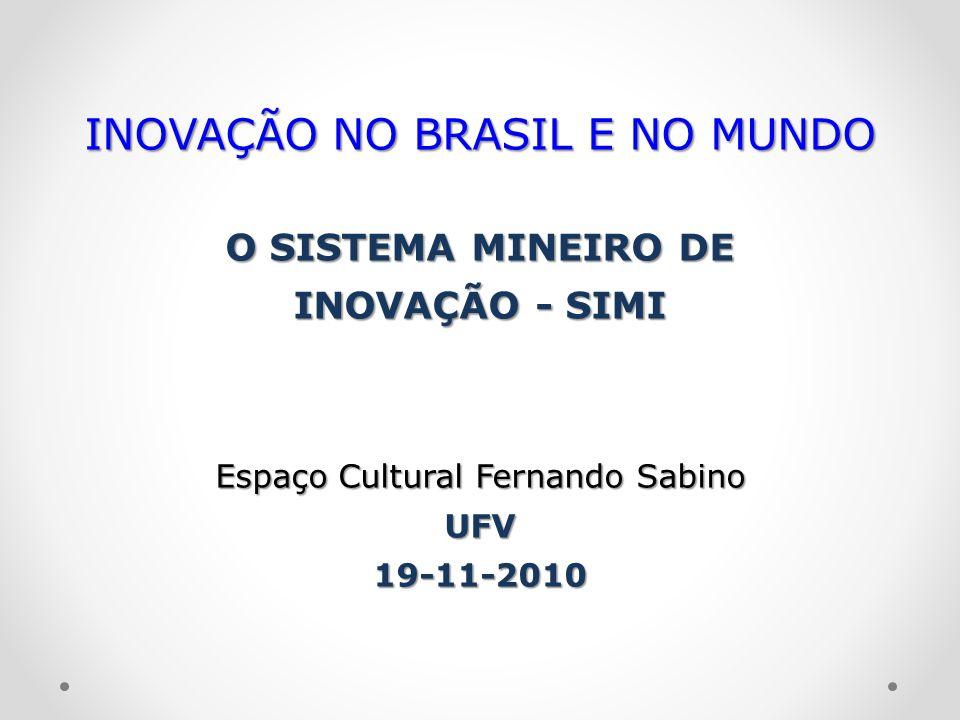 INOVAÇÃO NO BRASIL E NO MUNDO O SISTEMA MINEIRO DE INOVAÇÃO - SIMI Espaço Cultural Fernando Sabino UFV19-11-2010