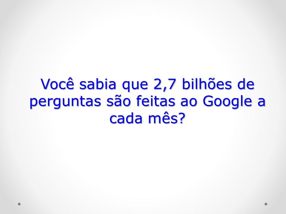 Você sabia que 2,7 bilhões de perguntas são feitas ao Google a cada mês?
