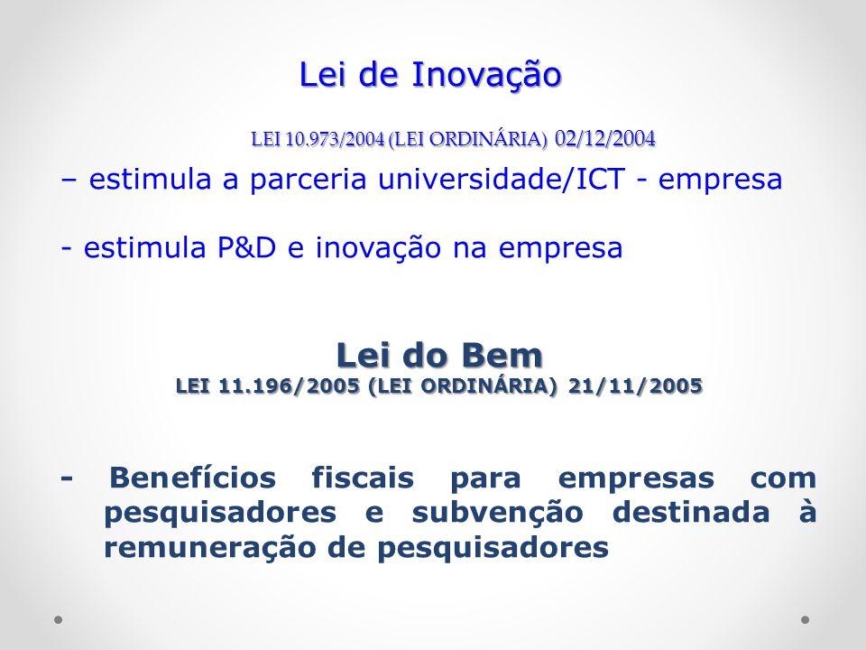 – estimula a parceria universidade/ICT - empresa - estimula P&D e inovação na empresa Lei do Bem LEI 11.196/2005 (LEI ORDINÁRIA) 21/11/2005 - Benefíci