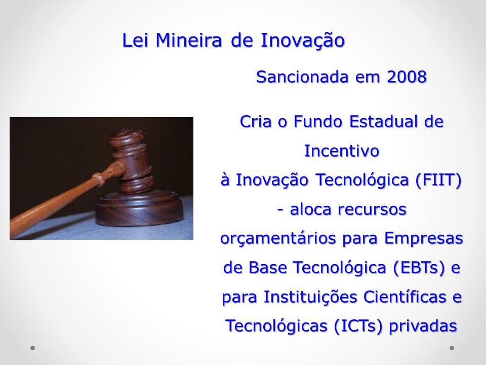 Lei Mineira de Inovação Sancionada em 2008 Cria o Fundo Estadual de Incentivo à Inovação Tecnológica (FIIT) - aloca recursos orçamentários para Empres
