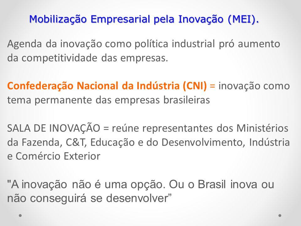 Agenda da inovação como política industrial pró aumento da competitividade das empresas. Confederação Nacional da Indústria (CNI) = inovação como tema