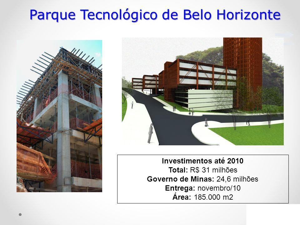 Investimentos até 2010 Total: R$ 31 milhões Governo de Minas: 24,6 milhões Entrega: novembro/10 Área: 185.000 m2 Parque Tecnológico de Belo Horizonte
