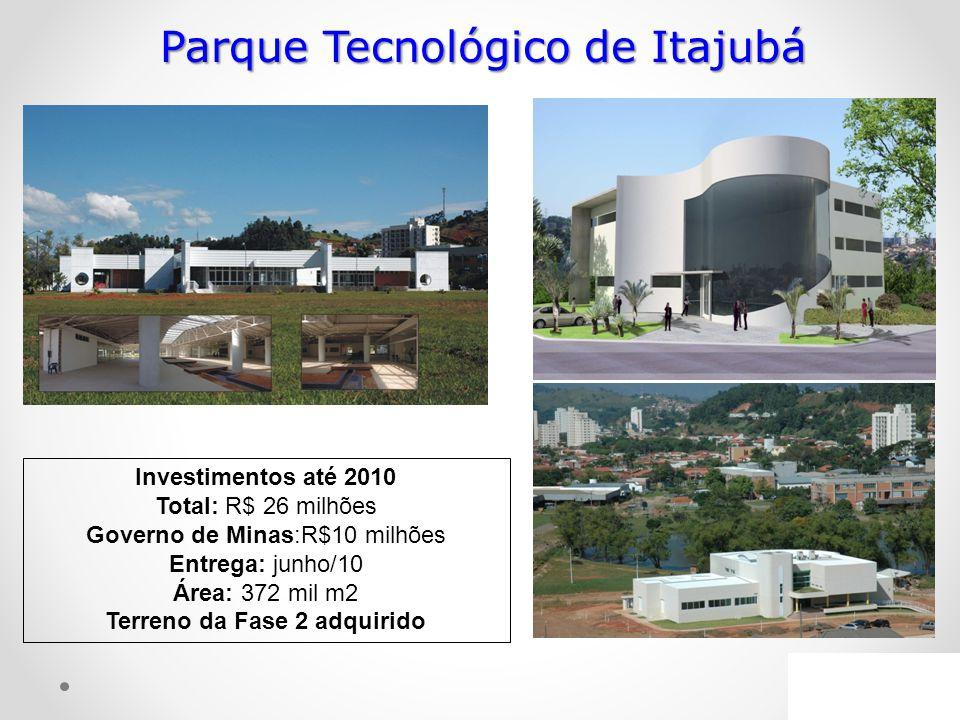 Parque Tecnológico de Itajubá Investimentos até 2010 Total: R$ 26 milhões Governo de Minas:R$10 milhões Entrega: junho/10 Área: 372 mil m2 Terreno da