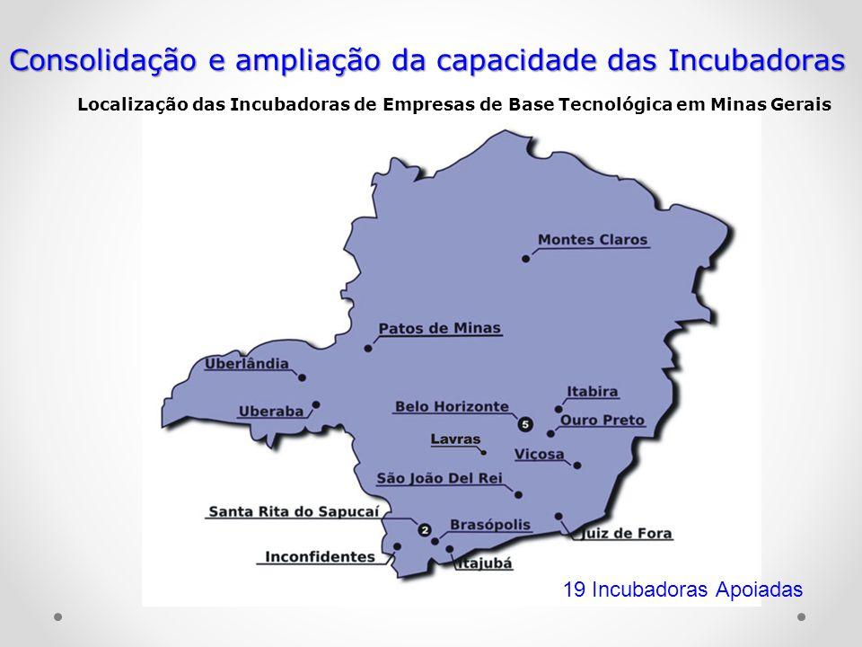 Localização das Incubadoras de Empresas de Base Tecnológica em Minas Gerais Consolidação e ampliação da capacidade das Incubadoras 19 Incubadoras Apoi