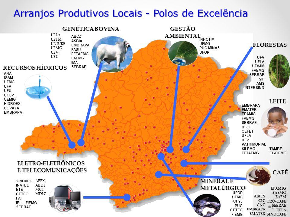 61 GENÉTICA BOVINA GENÉTICA BOVINA LEITE CAFÉ FLORESTAS GESTÃO AMBIENTAL Arranjos Produtivos Locais - Polos de Excelência Arranjos Produtivos Locais -