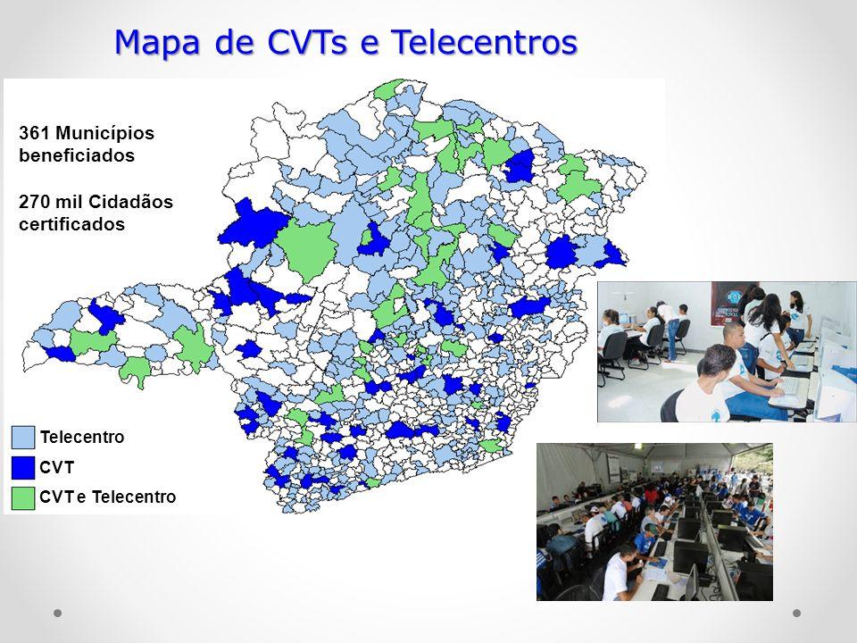 Telecentro CVT CVT e Telecentro Mapa de CVTs e Telecentros 361 Municípios beneficiados 270 mil Cidadãos certificados