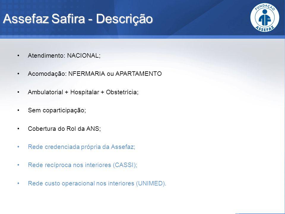 Assefaz Safira - Descrição Atendimento: NACIONAL; Acomodação: NFERMARIA ou APARTAMENTO Ambulatorial + Hospitalar + Obstetrícia; Sem coparticipação; Co