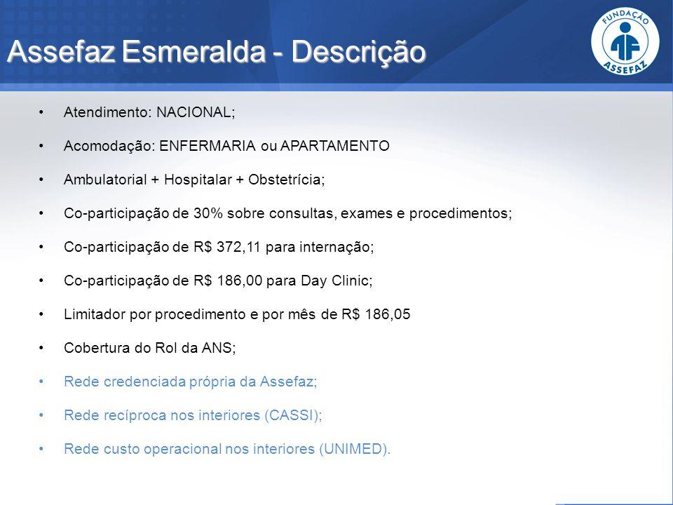 Assefaz Esmeralda - Descrição Atendimento: NACIONAL; Acomodação: ENFERMARIA ou APARTAMENTO Ambulatorial + Hospitalar + Obstetrícia; Co-participação de