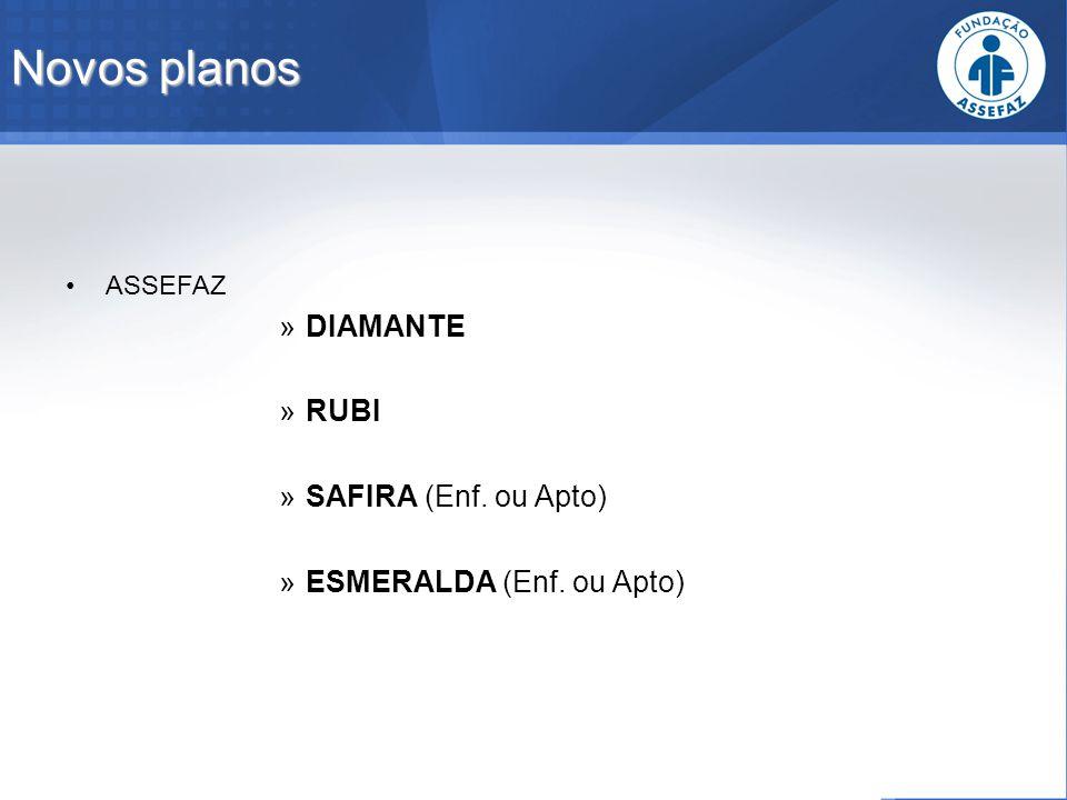 Novos planos ASSEFAZ »DIAMANTE »RUBI »SAFIRA (Enf. ou Apto) »ESMERALDA (Enf. ou Apto)