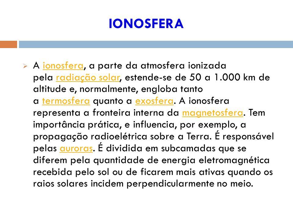 IONOSFERA A ionosfera, a parte da atmosfera ionizada pela radiação solar, estende-se de 50 a 1.000 km de altitude e, normalmente, engloba tanto a termosfera quanto a exosfera.