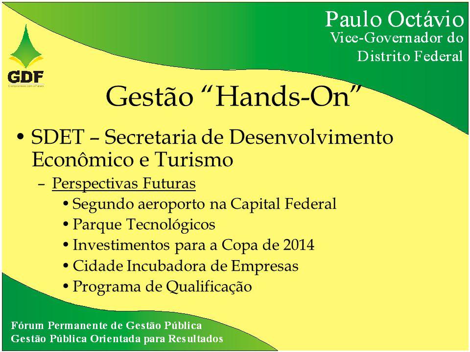 Gestão Hands-On SDET – Secretaria de Desenvolvimento Econômico e Turismo –Perspectivas Futuras Segundo aeroporto na Capital Federal Parque Tecnológicos Investimentos para a Copa de 2014 Cidade Incubadora de Empresas Programa de Qualificação