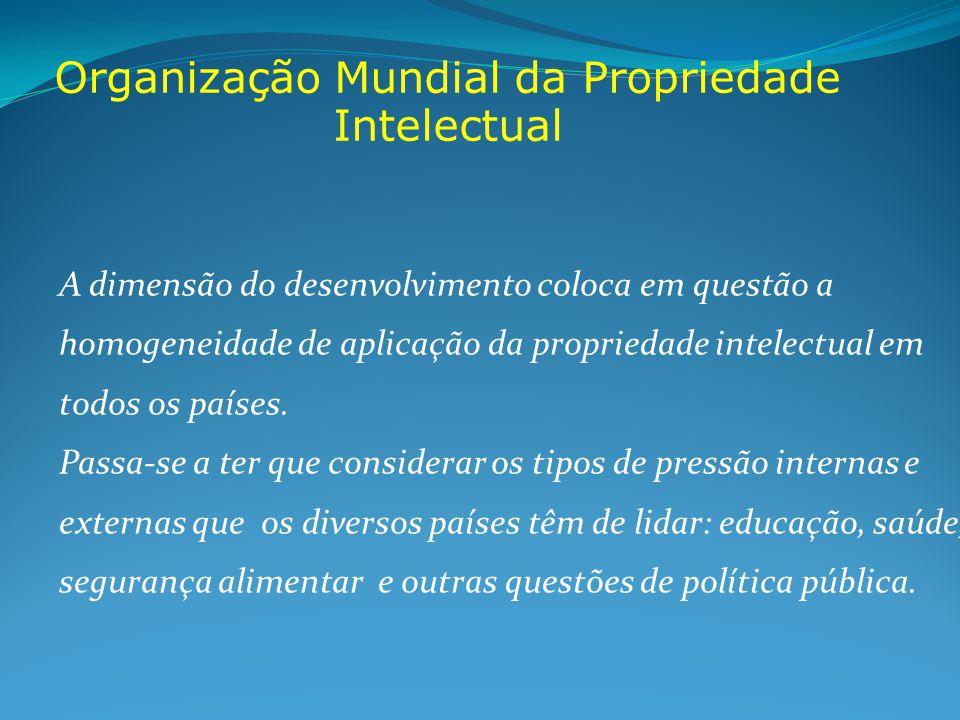 Organização Mundial da Propriedade Intelectual A dimensão do desenvolvimento coloca em questão a homogeneidade de aplicação da propriedade intelectual em todos os países.