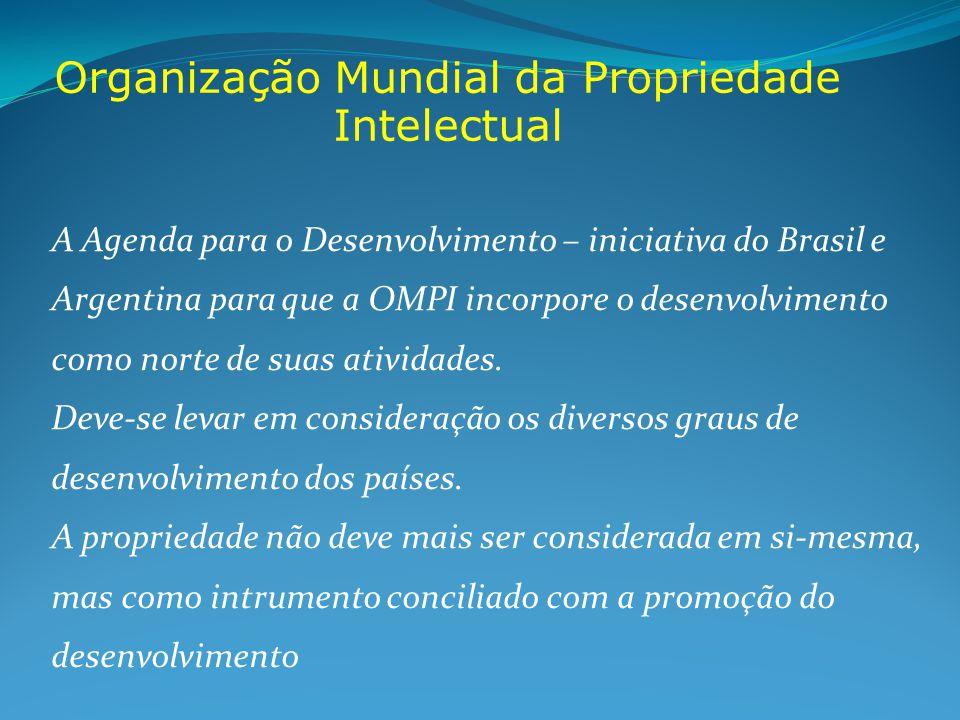 Organização Mundial da Propriedade Intelectual A Agenda para o Desenvolvimento – iniciativa do Brasil e Argentina para que a OMPI incorpore o desenvolvimento como norte de suas atividades.
