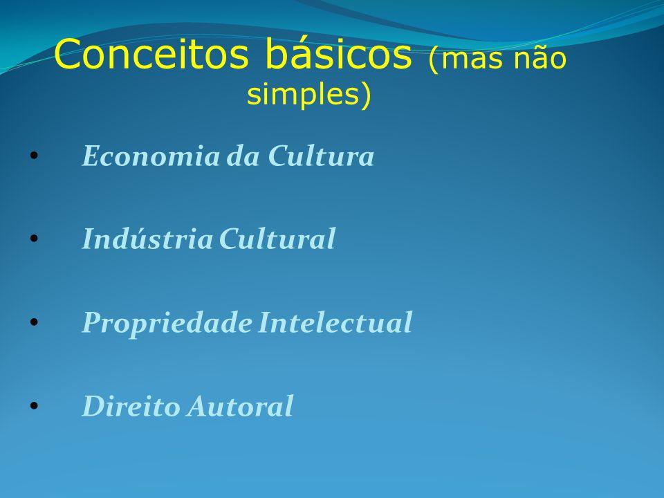 Economia da Cultura Indústria Cultural Indústria Cultural Propriedade Intelectual Propriedade Intelectual Direito Autoral Direito Autoral Conceitos básicos (mas não simples)
