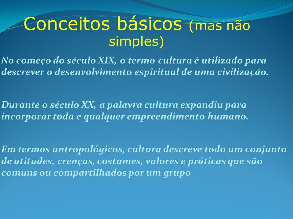Conceitos básicos (mas não simples) No começo do século XIX, o termo cultura é utilizado para descrever o desenvolvimento espiritual de uma civilizaçã