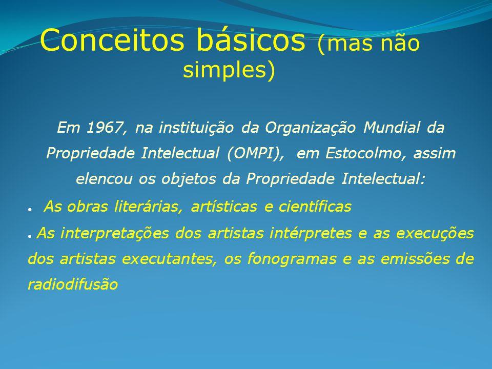 Conceitos básicos (mas não simples) Em 1967, na instituição da Organização Mundial da Propriedade Intelectual (OMPI), em Estocolmo, assim elencou os o