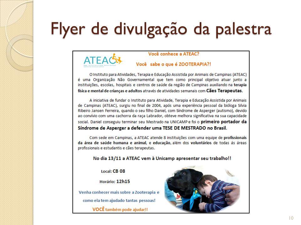 Flyer de divulgação da palestra 10