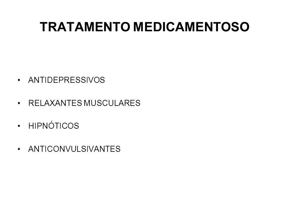 TRATAMENTO MEDICAMENTOSO ANTIDEPRESSIVOS RELAXANTES MUSCULARES HIPNÓTICOS ANTICONVULSIVANTES