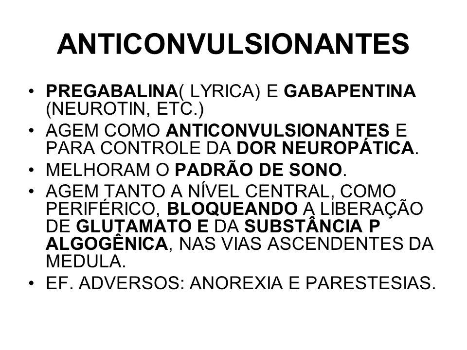 ANTICONVULSIONANTES PREGABALINA( LYRICA) E GABAPENTINA (NEUROTIN, ETC.) AGEM COMO ANTICONVULSIONANTES E PARA CONTROLE DA DOR NEUROPÁTICA. MELHORAM O P