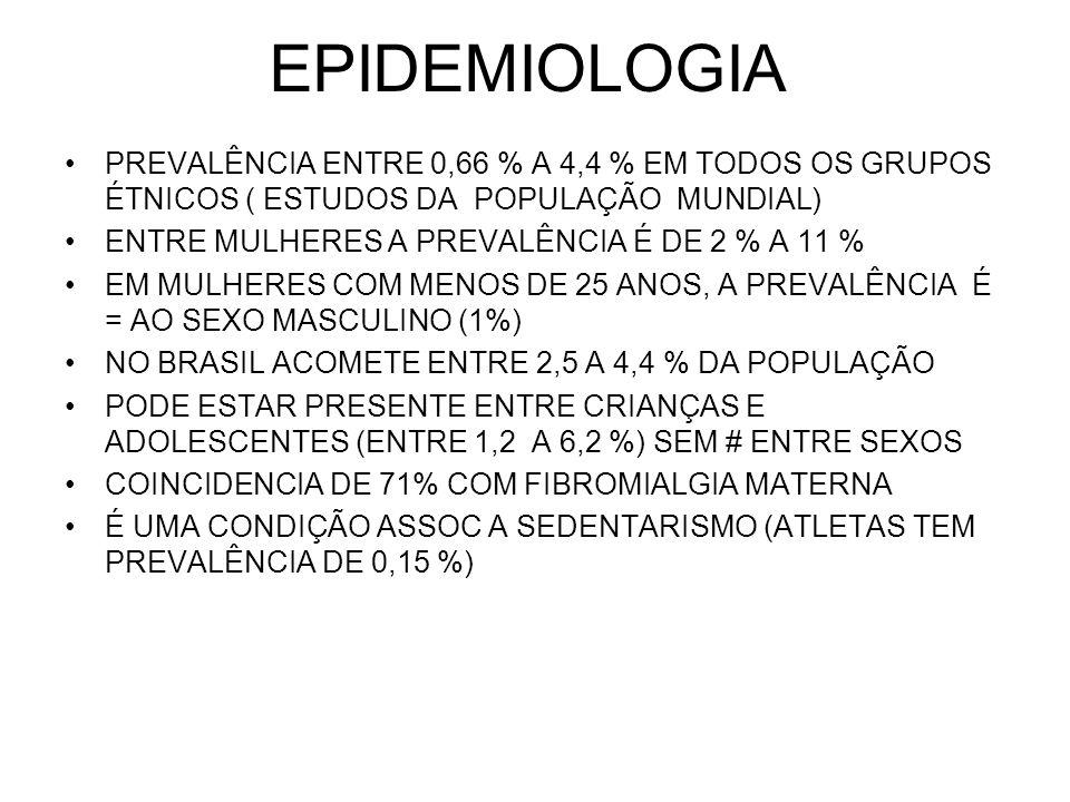 EPIDEMIOLOGIA PREVALÊNCIA ENTRE 0,66 % A 4,4 % EM TODOS OS GRUPOS ÉTNICOS ( ESTUDOS DA POPULAÇÃO MUNDIAL) ENTRE MULHERES A PREVALÊNCIA É DE 2 % A 11 %