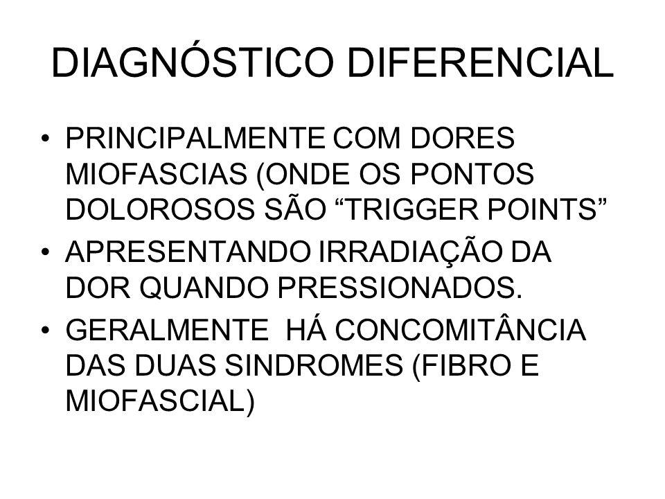 DIAGNÓSTICO DIFERENCIAL PRINCIPALMENTE COM DORES MIOFASCIAS (ONDE OS PONTOS DOLOROSOS SÃO TRIGGER POINTS APRESENTANDO IRRADIAÇÃO DA DOR QUANDO PRESSIO