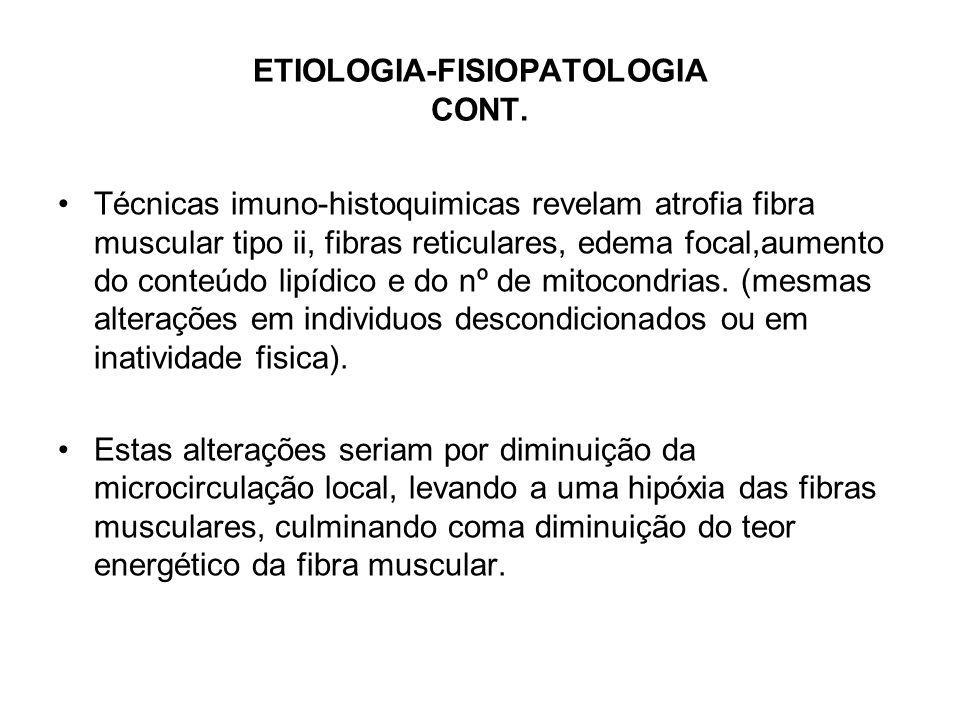 ETIOLOGIA-FISIOPATOLOGIA CONT. Técnicas imuno-histoquimicas revelam atrofia fibra muscular tipo ii, fibras reticulares, edema focal,aumento do conteúd