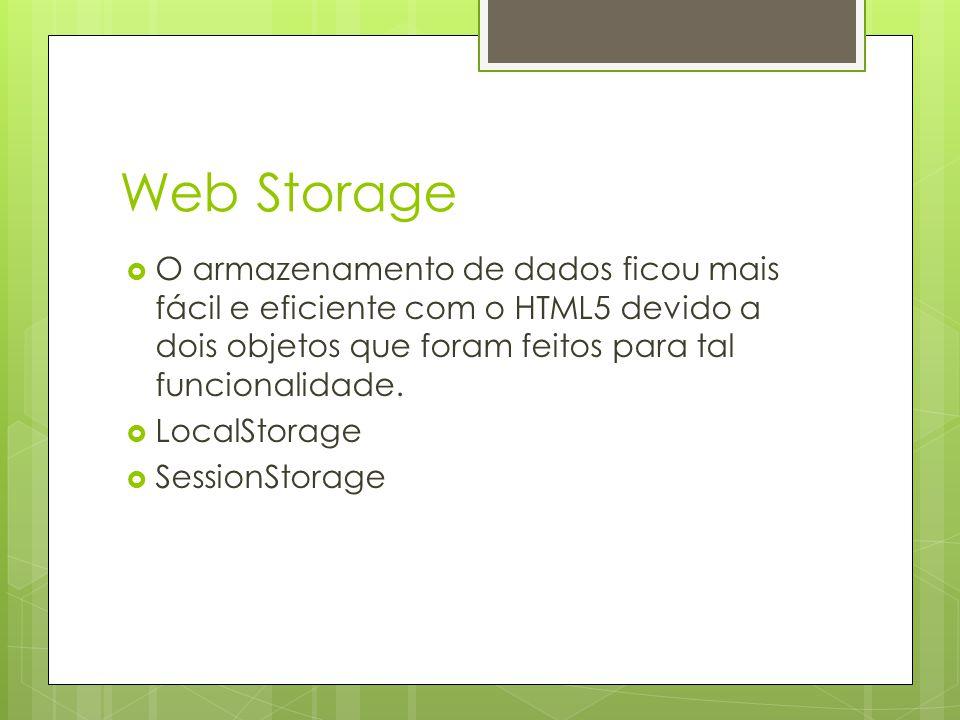 Web Storage O armazenamento de dados ficou mais fácil e eficiente com o HTML5 devido a dois objetos que foram feitos para tal funcionalidade.