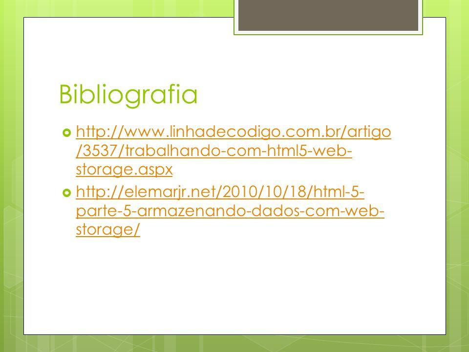 Bibliografia http://www.linhadecodigo.com.br/artigo /3537/trabalhando-com-html5-web- storage.aspx http://www.linhadecodigo.com.br/artigo /3537/trabalhando-com-html5-web- storage.aspx http://elemarjr.net/2010/10/18/html-5- parte-5-armazenando-dados-com-web- storage/ http://elemarjr.net/2010/10/18/html-5- parte-5-armazenando-dados-com-web- storage/