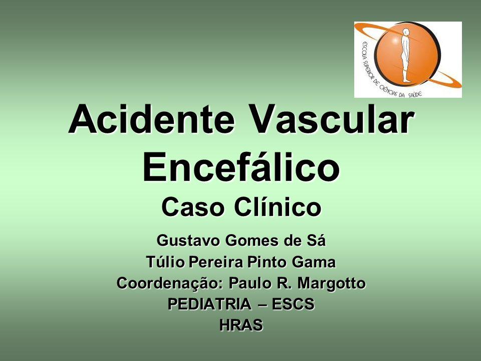 Acidente Vascular Encefálico Caso Clínico Gustavo Gomes de Sá Túlio Pereira Pinto Gama Coordenação: Paulo R. Margotto PEDIATRIA – ESCS HRAS