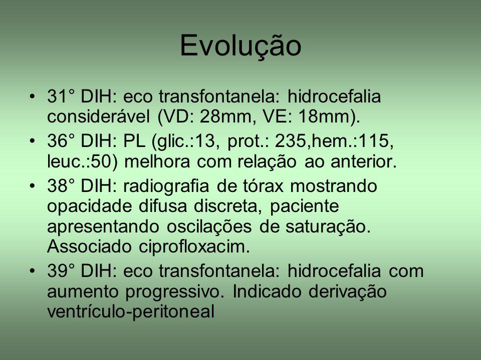 31° DIH: eco transfontanela: hidrocefalia considerável (VD: 28mm, VE: 18mm). 36° DIH: PL (glic.:13, prot.: 235,hem.:115, leuc.:50) melhora com relação
