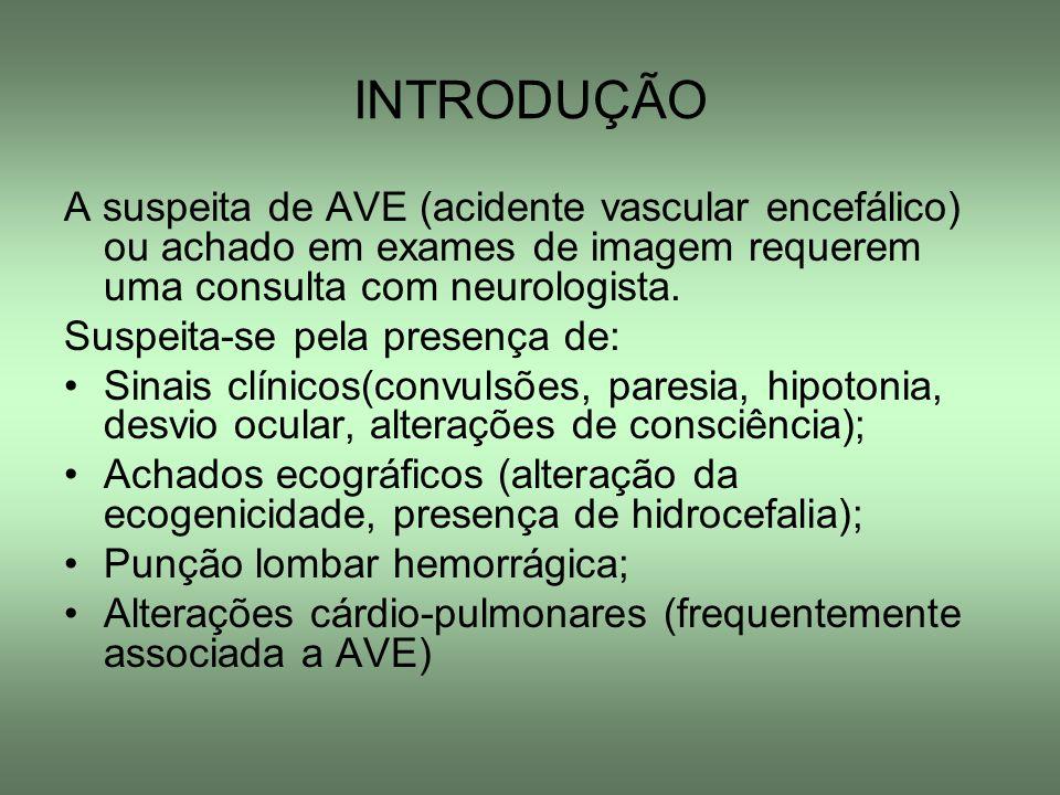 INTRODUÇÃO A suspeita de AVE (acidente vascular encefálico) ou achado em exames de imagem requerem uma consulta com neurologista. Suspeita-se pela pre