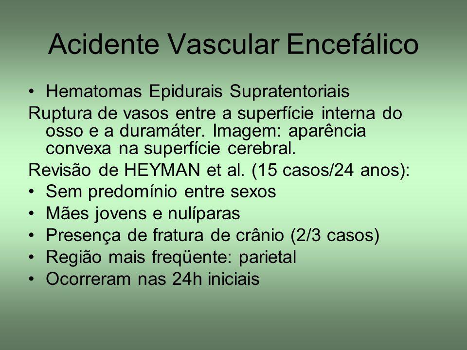 Acidente Vascular Encefálico Hematomas Epidurais Supratentoriais Ruptura de vasos entre a superfície interna do osso e a duramáter. Imagem: aparência