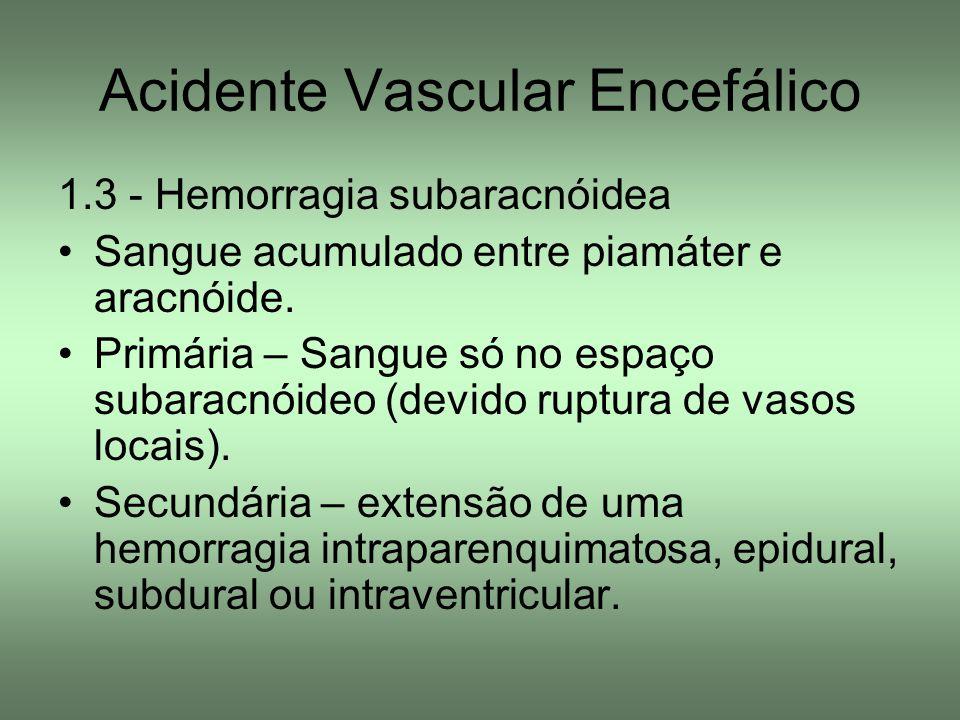 Acidente Vascular Encefálico 1.3 - Hemorragia subaracnóidea Sangue acumulado entre piamáter e aracnóide. Primária – Sangue só no espaço subaracnóideo