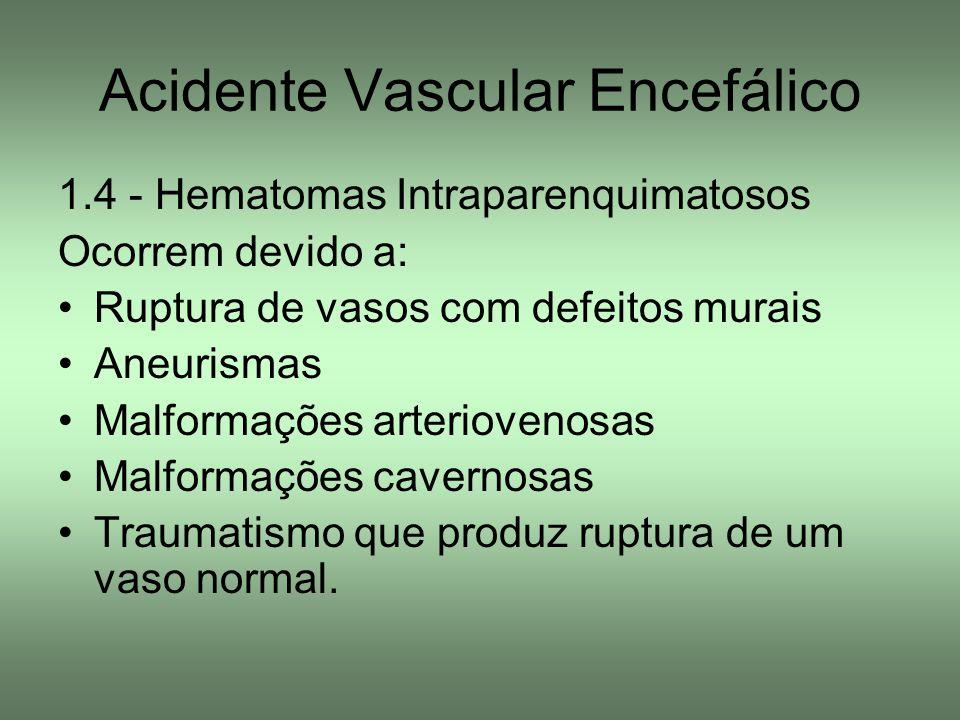 Acidente Vascular Encefálico 1.4 - Hematomas Intraparenquimatosos Ocorrem devido a: Ruptura de vasos com defeitos murais Aneurismas Malformações arter