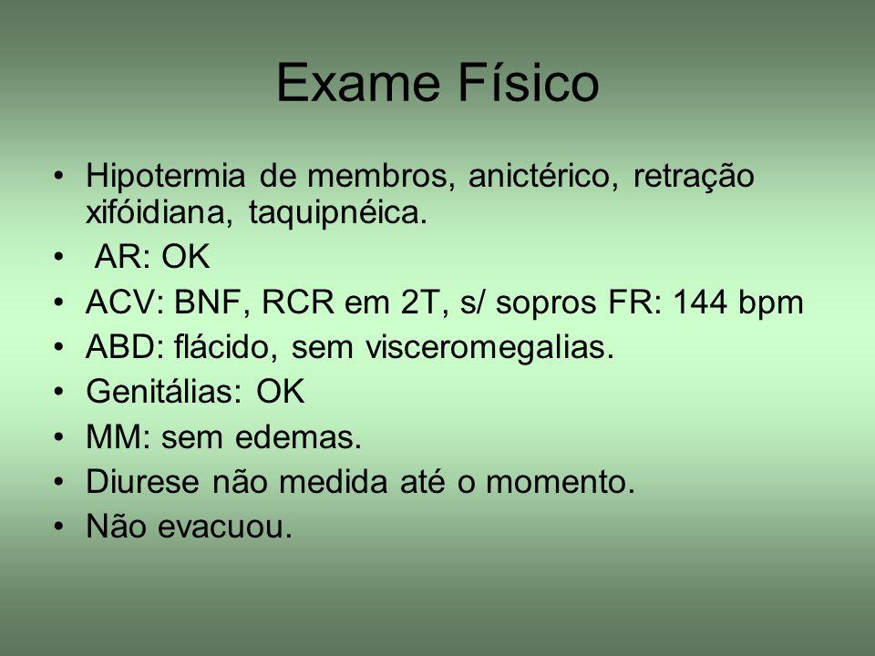 Exame Físico Hipotermia de membros, anictérico, retração xifóidiana, taquipnéica. AR: OK ACV: BNF, RCR em 2T, s/ sopros FR: 144 bpm ABD: flácido, sem