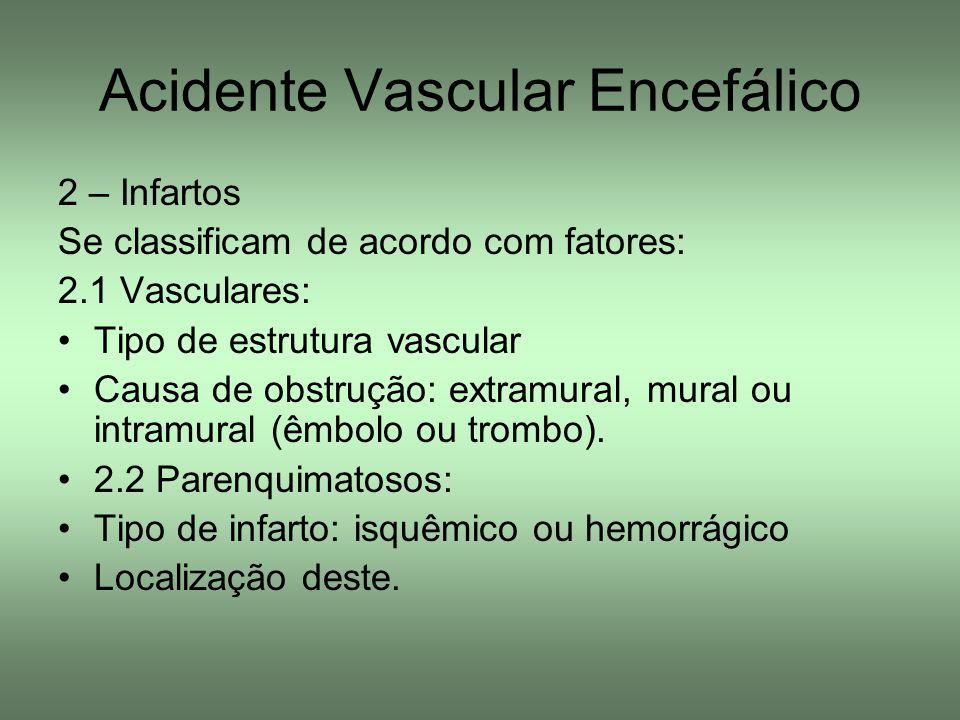 Acidente Vascular Encefálico 2 – Infartos Se classificam de acordo com fatores: 2.1 Vasculares: Tipo de estrutura vascular Causa de obstrução: extramu