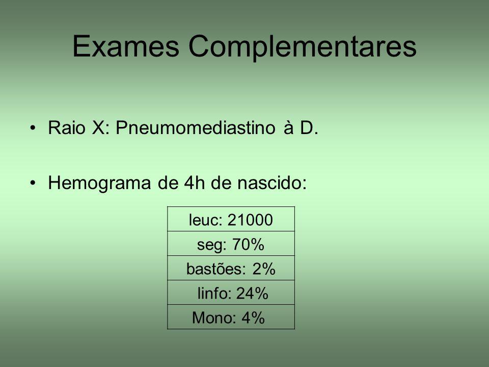 Exames Complementares Raio X: Pneumomediastino à D. Hemograma de 4h de nascido: leuc: 21000 seg: 70% bastões: 2% linfo: 24% Mono: 4%