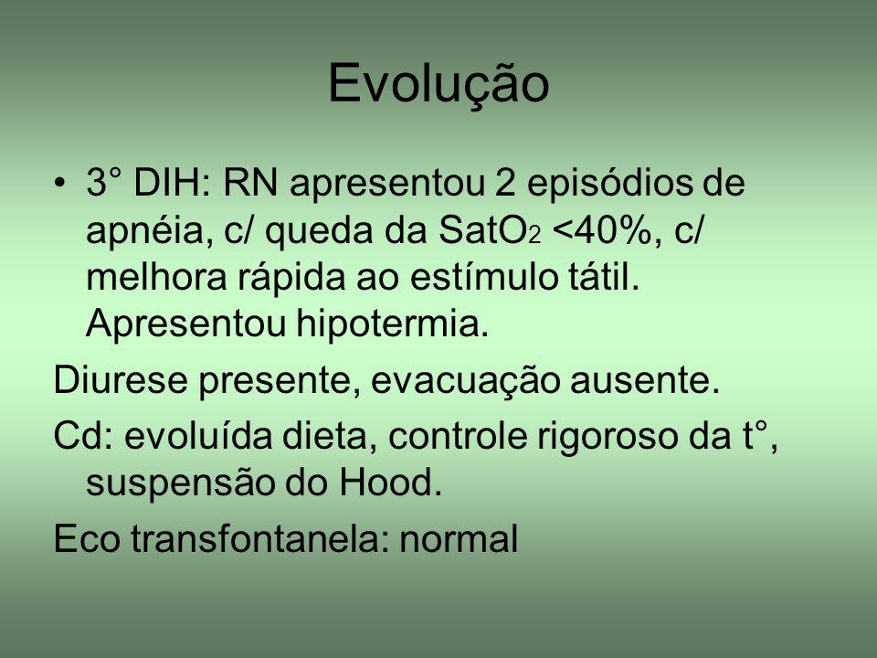 Evolução 4° DIH: Má digestibilidade, icterícia +/4 Cd: NPT, colhido HC, PCR (20,07), Bilirrubinas, iniciado foto halógena Hg: 16Leuc: 9400 Ht: 46%Seg: 60% Plaq; 236.000Bast: 1% BT: 13,1Linf: 35% BI: 12,6Mono: 3% BD: 0,5Eos: 1%