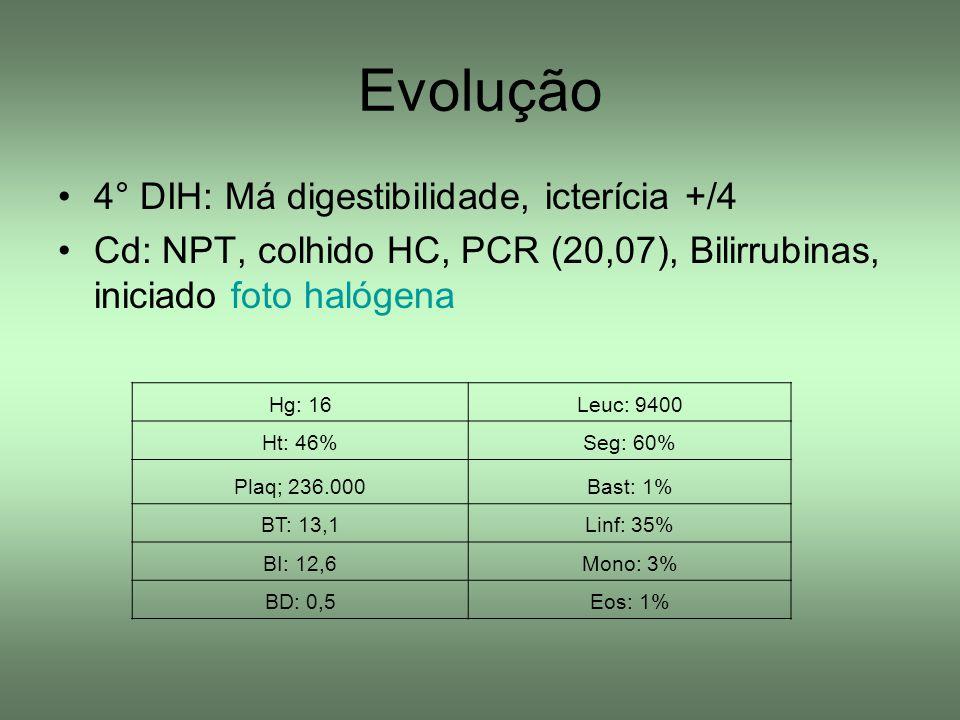 Evolução 4° DIH: Má digestibilidade, icterícia +/4 Cd: NPT, colhido HC, PCR (20,07), Bilirrubinas, iniciado foto halógena Hg: 16Leuc: 9400 Ht: 46%Seg: