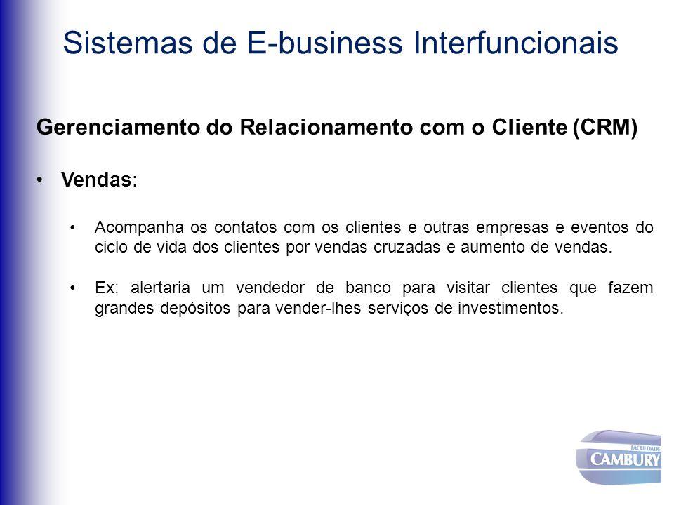 Sistemas de E-business Interfuncionais Gerenciamento do Relacionamento com o Cliente (CRM) Vendas: Acompanha os contatos com os clientes e outras empresas e eventos do ciclo de vida dos clientes por vendas cruzadas e aumento de vendas.