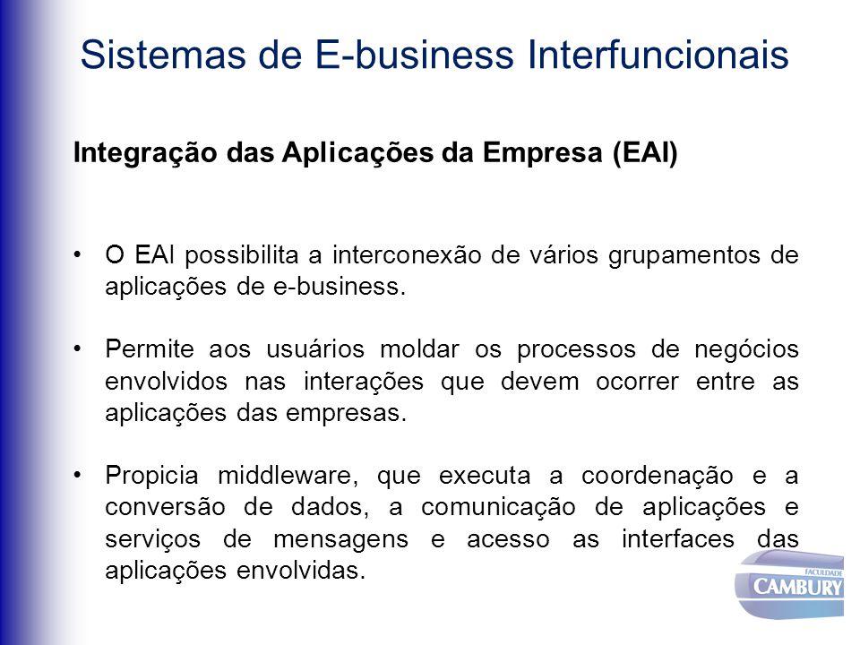 Sistemas de E-business Interfuncionais Integração das Aplicações da Empresa (EAI) O EAI possibilita a interconexão de vários grupamentos de aplicações de e-business.
