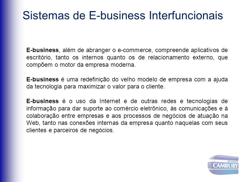 Sistemas de E-business Interfuncionais E-business, além de abranger o e-commerce, compreende aplicativos de escritório, tanto os internos quanto os de relacionamento externo, que compõem o motor da empresa moderna.