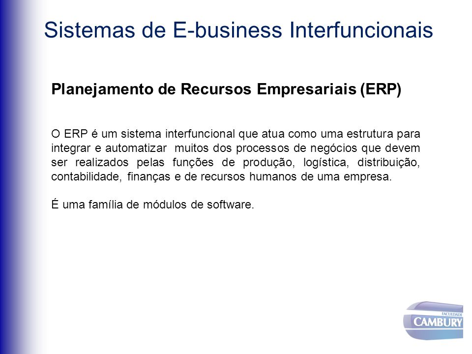 Sistemas de E-business Interfuncionais