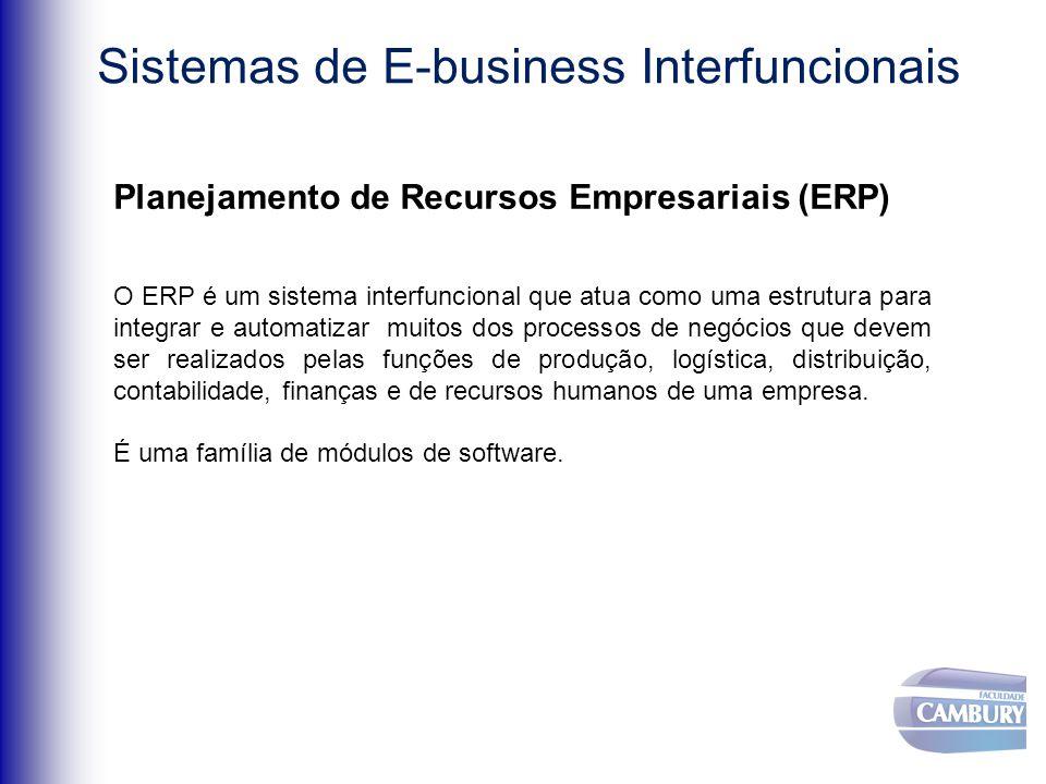 Planejamento de Recursos Empresariais (ERP) O ERP é um sistema interfuncional que atua como uma estrutura para integrar e automatizar muitos dos processos de negócios que devem ser realizados pelas funções de produção, logística, distribuição, contabilidade, finanças e de recursos humanos de uma empresa.