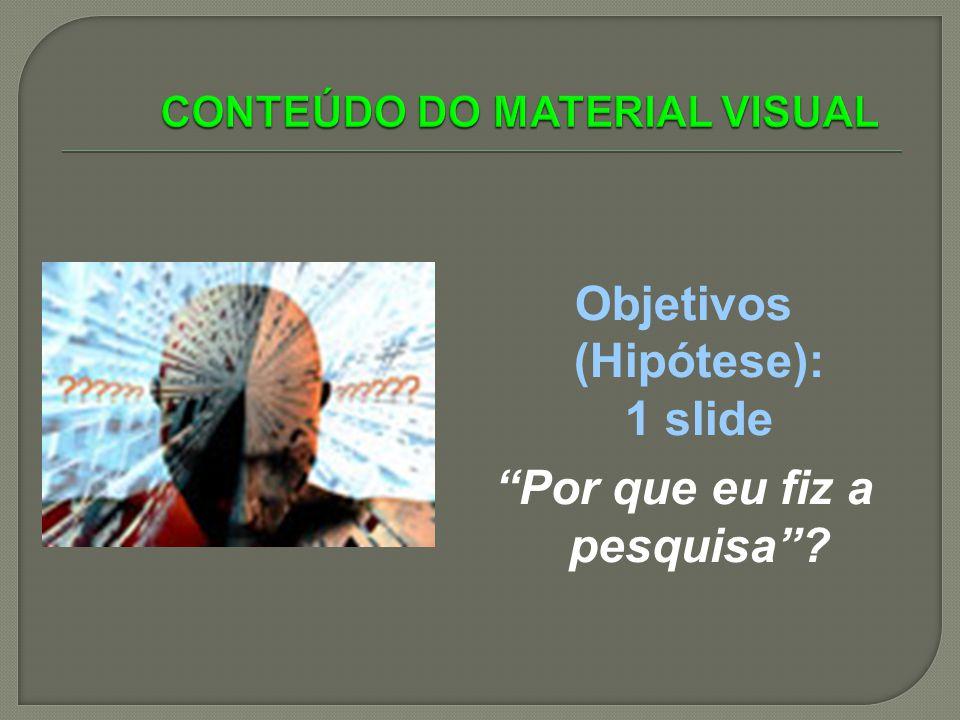 Objetivos (Hipótese): 1 slide Por que eu fiz a pesquisa?