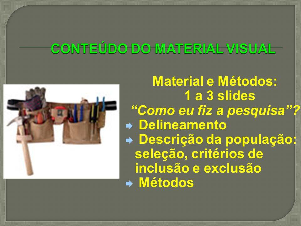 Material e Métodos: 1 a 3 slides Como eu fiz a pesquisa? Delineamento Descrição da população: seleção, critérios de inclusão e exclusão Métodos