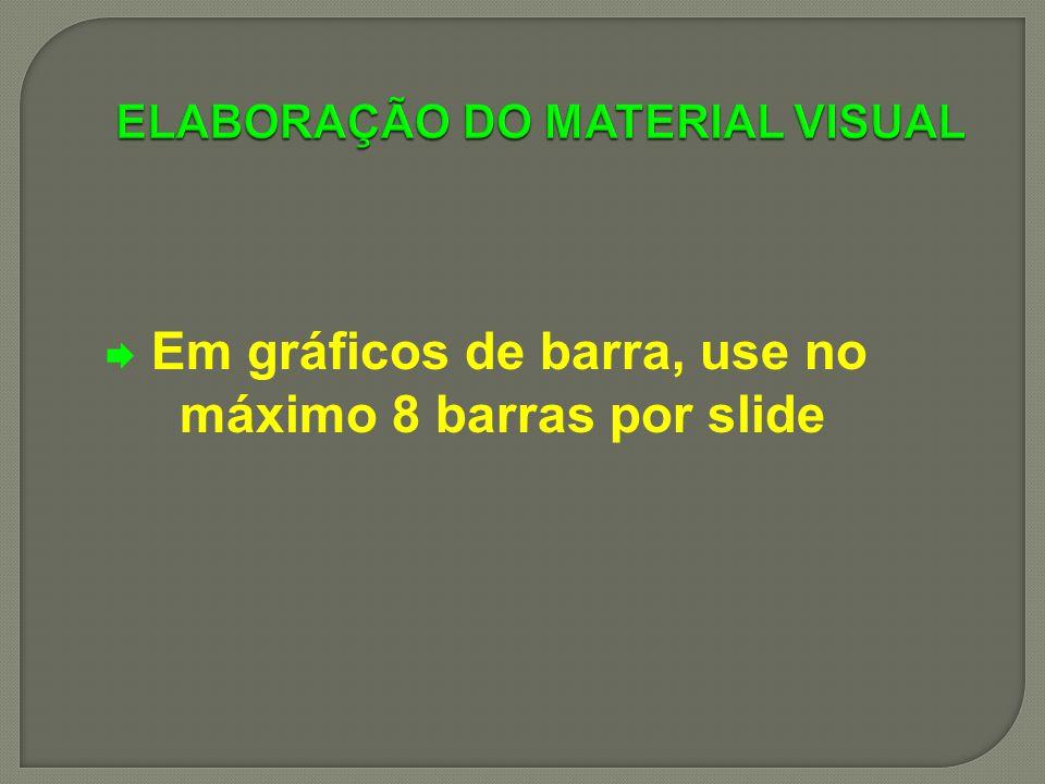 Em gráficos de barra, use no máximo 8 barras por slide
