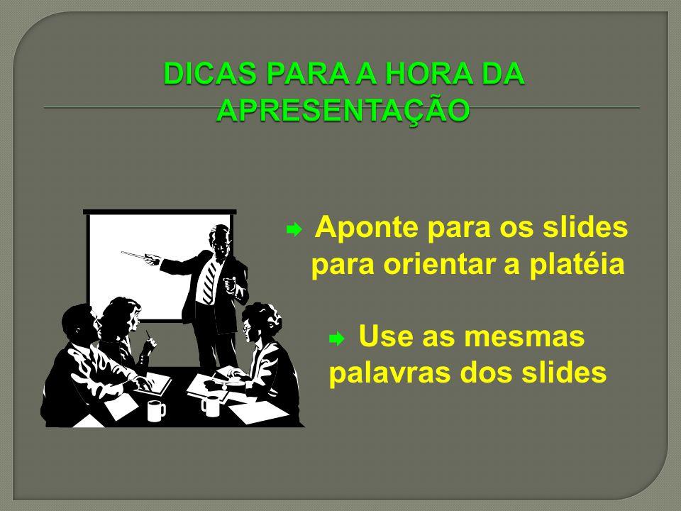 Aponte para os slides para orientar a platéia Use as mesmas palavras dos slides